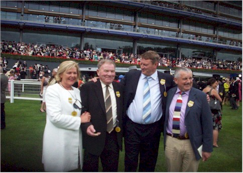 Breda Moynihan-Cronin, Jim Kelly, D.C.Cronin & J.J. O'Donoghue, co-owners of Shes Our Mark at Royal Ascot